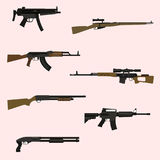Firearm set. Automatic rifle and machine gun Royalty Free Stock Photo