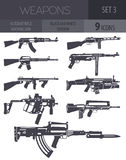 Firearm set. Automatic rifle, machine gun. Flat design. Vector illustration Stock Photo