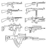 Firearm set. Automatic rifle, machine gun. Outline linear versio Royalty Free Stock Photo