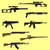 Firearm set. Flat style vector illustration Stock Images