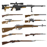Firearm set. Gun, rifle, carbine. Flat design Stock Photos