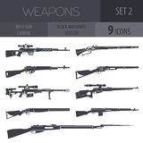 Firearm set. Gun, rifle, carbine  Vector illustration. Firearm set. Gun, rifle, carbine. Black and white. Vector illustration Stock Image