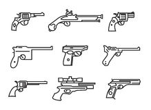 Firearm set. Guns, pistols, revolvers. Flat design. Outline line Royalty Free Stock Photo
