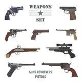 Firearm set. Guns, pistols, revolvers. Flat design. Firearm set. Guns, pistols.  Flat design. Vector illustration Stock Image