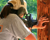 Firearms Class. Trainers, instructors, and experienced shooters offer their knowledge and skills during this Carbine 101 Course offered at Mayberry Range in royalty free stock photography