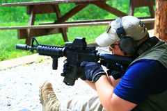 Firearms Class. Trainers, instructors, and experienced shooters offer their knowledge and skills during this Carbine 101 Course offered at Mayberry Range in royalty free stock photo