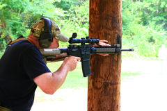 Firearms Class. Trainers, instructors, and experienced shooters offer their knowledge and skills during this Carbine 101 Course offered at Mayberry Range in stock photo