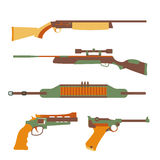 Firearms set design flat. Military weapon and gun, pistol for defense, vector illustration Royalty Free Stock Images