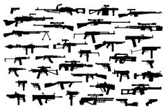 Firearms. Vector big set of different modern fire weapons. Black silhouettes on white isolated background. Side view. Firearms. Vector big set of different Stock Photography