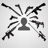 Firearms weapons aim to the head of a man eps10. Firearms weapons aim to the head of a man Royalty Free Stock Photos