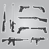Firearms weapons and guns black stickers Stock Photography