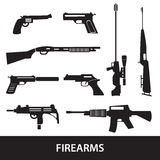 Firearms weapons and guns icons Stock Photos