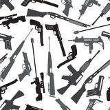 Firearms weapons and guns seamless pattern Stock Photos