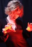 Fireball. Devilish portrait of inferno girl Royalty Free Stock Photo