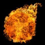 Fireball. Fiery ball on black background Stock Photos