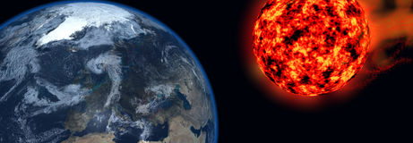 Fireball Approaching. 3D rendering of a fireball headed towards Earth Stock Image