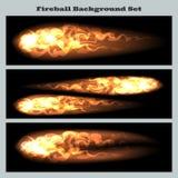 Fireball background set. Set of fireballs or flying flame tips on black background Stock Image
