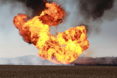 Fireball after explosion. Cornfield and fireball after an explosion of a gas line in Hooper Nebraska stock photography