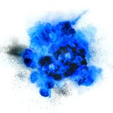 Fireball: explosion, detonation. Realistic blue explosion with sparks over a white background Stock Image