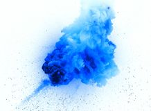 Fireball: explosion, detonation. Realistic blue explosion with sparks over a white background Stock Photo