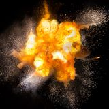 Realistic fiery explosion with sparks over a black background vector illustration
