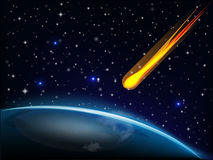 Fireball falling on earth. Meteorite falling on earth vector image web template Royalty Free Stock Images