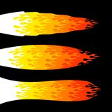 Fireball flames. Colorful burning fireball flames isolated on black background Stock Image