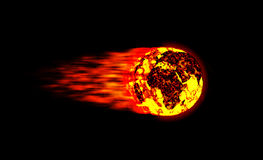 Fireball meteor world. Huge fireball world that is moving very fast cause of its warm royalty free stock photo