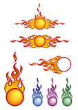 Fireballs. Vector illustration of a few fireballs with color variants Stock Photo