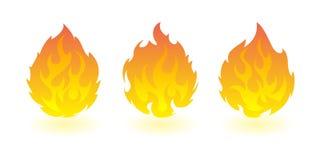 Fireballs. Set of vector fire design elements. 3 fireball. fire design element on white background Royalty Free Stock Photos