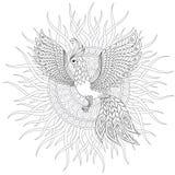 Firebird для анти- страницы расцветки стресса с высокими деталями иллюстрация вектора
