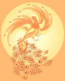 Firebird. An illustration of a firebird with fiery wings and peacock tail against a bright yellow sun Stock Image