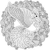 Firebird for anti stress Coloring Page with high details. Royalty Free Stock Photo