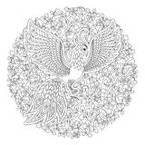 Firebird for anti stress Coloring Page with high details. Stock Photography