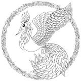 Firebird for anti stress Coloring Page with high details. Stock Image