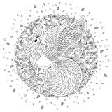 Firebird for anti stress Coloring Page with high details. Stock Photo
