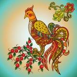 Firebird on Apple. Khohloma colorful ornament Firebird on Apple Stock Photos
