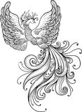 Firebird  clipart. Black contour on a white background Stock Images