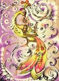 Firebird decorativo con la corona illustrazione di stock