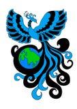 Firebird envelops the planet earth Stock Photo