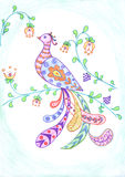 Firebird and flower. S sketch, colored drawing of bird and plant decoration Stock Images