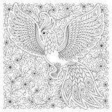 Firebird para a anti página da coloração do esforço com detalhes altos Foto de Stock Royalty Free