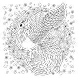Firebird para la página anti del colorante de la tensión con los altos detalles Imagenes de archivo