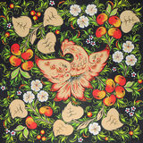 The Firebird with paradise apples in Russian folk style Khokhloma. Digital print Firebird with paradise apples in Russian folk style Khokhloma from my Original Royalty Free Stock Photo