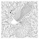 Firebird per l'anti pagina di coloritura di sforzo con gli alti dettagli Fotografia Stock Libera da Diritti