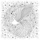 Firebird per l'anti pagina di coloritura di sforzo con gli alti dettagli Immagine Stock