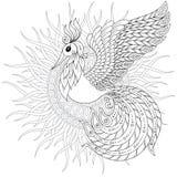Firebird per l'anti pagina di coloritura di sforzo con gli alti dettagli Immagine Stock Libera da Diritti