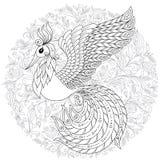 Firebird pour l'anti page de coloration d'effort avec les détails élevés Photo stock