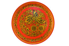 Firebird. Russian folk craft. Painting on a round tray Royalty Free Stock Photography