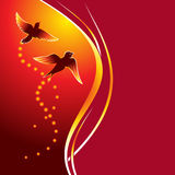 Firebirds. Two birds flying at abstract glowing background Stock Photography